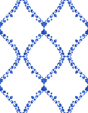 Watercolor delft blue pattern