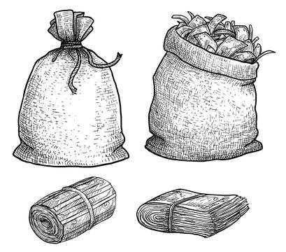 Money in bag illustration, drawing, engraving, ink, line art, vector