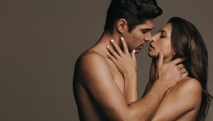 Romantic couple in intimate embrace
