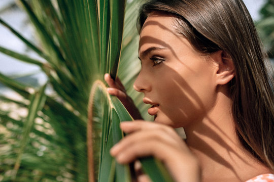Young woman's face surrounded by tropical leaves. Woman face in profile with Natural nude make-up on a tropical leaf background. Natural cosmetic and wellness. Purity and skincare.