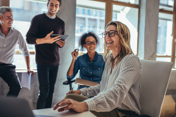 Cheerful business team during a meeting