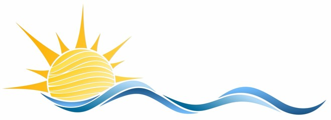 Sun and Blue Wave Symbol.