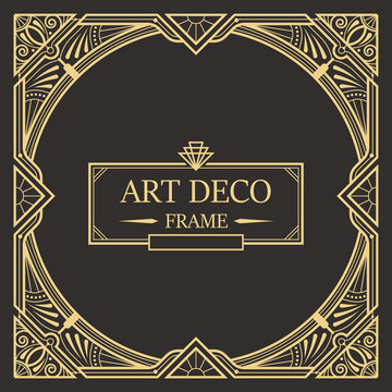 Art deco border and frame template. Creative template in style of 1920s for your design