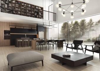Nowoczesne i eleganckie wnętrze mieszkalne o otwartym planie.