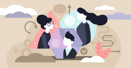 Personality types vector illustration. Tiny psychological persons concept.