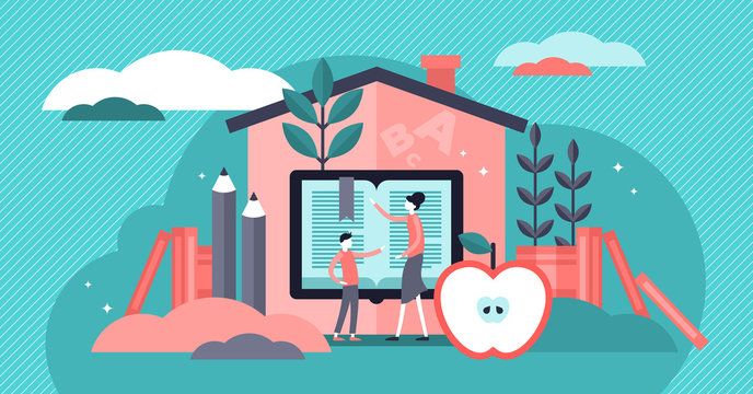 Homeschooling vector illustration. Tiny education system persons concept.