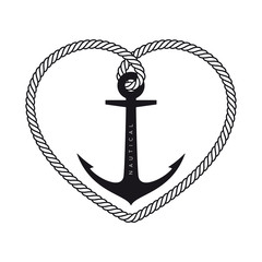 Vector black logo rope heart with nautical anchor. Isolated on white background