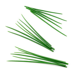 Fototapeta Chives isolated. Young green onion. Set. obraz
