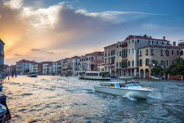 Wall Mural - Architecture of Venice, Italy, at sunset. Scenic travel background.