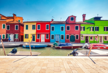 Wall Mural - Multicolored houses on Burano island, Venice, Italy, on a summer day. Architecture and travel background.