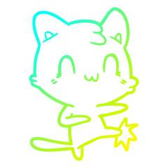 cold gradient line drawing cartoon happy cat karate kicking