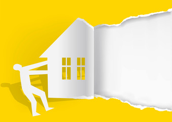 Real estate for sale, yellow background template.  Man ripped yellow  paper with house silhouette. Concept for Real estate for sale. Place for text or image. Vector available.