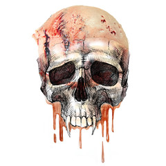 I like ice cream. A picture of a skull with an ice cream that drowns and drains