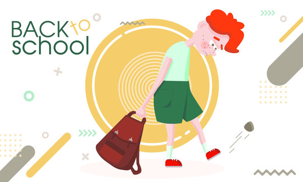 Back to school. Red-haired boy bully does not want to go to school, flat vector graphics