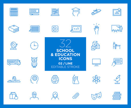 Set of School and Education icons in line	- Back to School