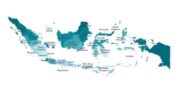 Vector isolated illustration of simplified administrative map of Indonesia. Borders and names of the regions. Colorful blue khaki silhouettes