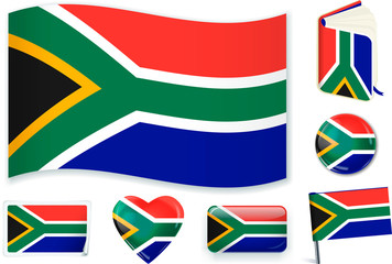 South African flag in seven shapes. Editable and separate layers.