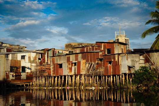 Saigon river slums and shanty towns in Ho Chi Minh City / Vietnam