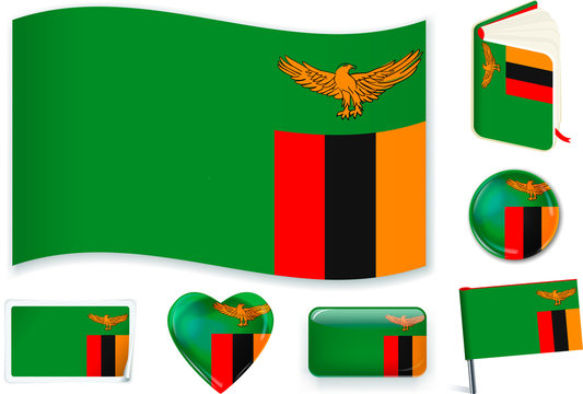 Zambian flag in seven shapes. Editable and separate layers.