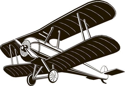 biplane retro airplane monochrome black graphic clip art vector