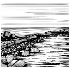 Seascape Beach, vector sketch