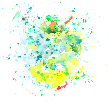 An abstract artistic vibrant teal blue, green and yellow watercolor background texture with splashes of paint, vector drawing with a place for text or logo