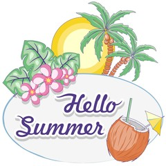 Foto op Plexiglas Draw Hello Summer Tropical Oval Framed Label Vector Logo Design Pastel Colors
