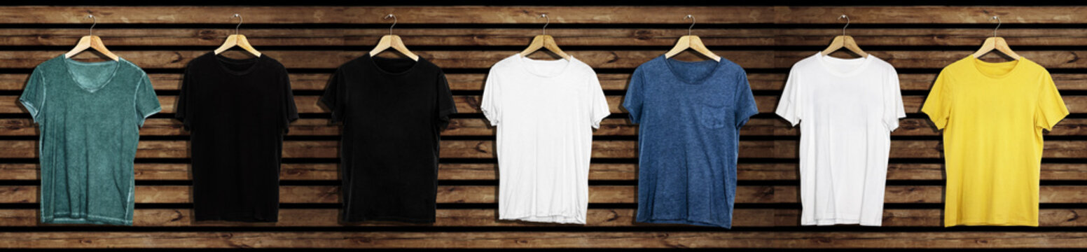 t-shirt mockup and template on wood background for fashion and graphic designer