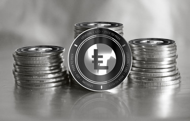 LEOcoin (LEO) digital crypto currency. Stack of black and silver coins. Cyber money.