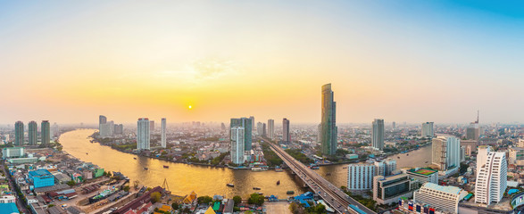 Poster Bangkok Beautiful view of Bangkok city with Chaopraya river at sunset. Panorama photo.
