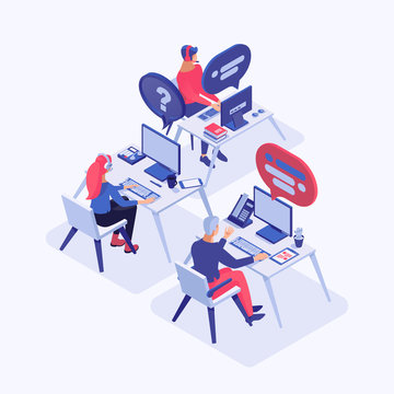 Call center vector isometric illustration. Customer service operators with headset consulting clients, managers 3d cartoon characters. Around the clock tech support, office workers at workplace