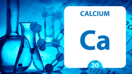 Calcium Ca, chemical element sign. 3D rendering isolated on white background. Calcium chemical 20 element for science experiments in classroom science camp