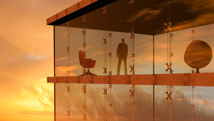 3D rendering of a modern glass building with a man looking the sunset.