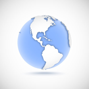 Volumetric globe in white and blue colors. 3d vector illustration with continents America, America, North, South and Central America