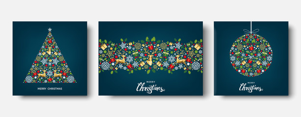 Fotomurales - Colorful  Christmas  and New Year greeting card with reindeer.