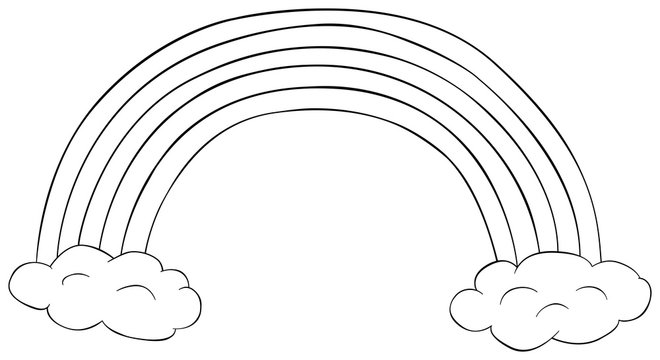 Rainbow with clouds clipart. Coloring book for children. Doodle vector illustration.