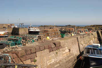 boats and harbour at St. Abbs, Berwickshire, Scotland