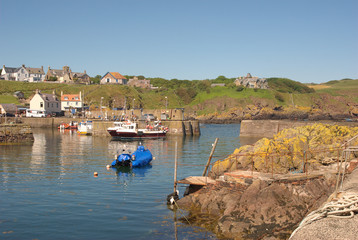harbour and village at St. Abbs, Berwickshire, Scotland in summer