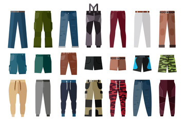 Men's Clothing. Shorts and pants for boys and men. Set of fashion and style elements.