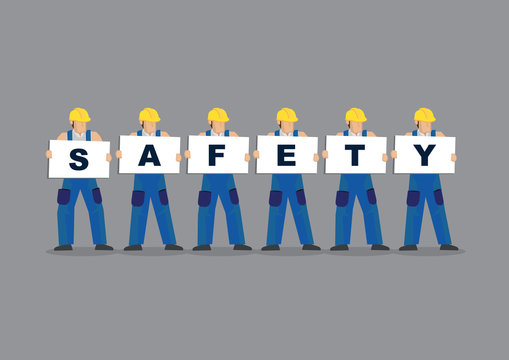 Illustration of construction workers holding white board cards portray a concept of safety working.