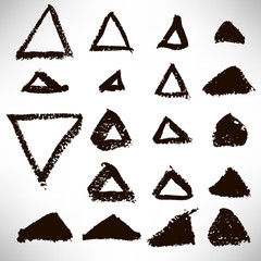 Set of hand drawn triangular black grunge shapes, frames, elements for design. Geometrical collection isolated on white background. Vector illustration.