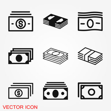 Currency Banknotes vector icon. Illustration style is a flat iconic
