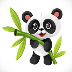 Cute cartoon toy little bear panda hugging bamboo isolated on white background
