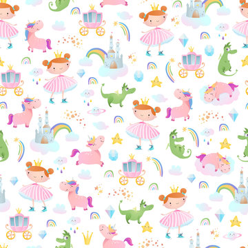 Princesses, dragons and unicorns. Seamless pattern.