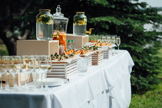 catering services background with snacks on guests table outdoor wedding party