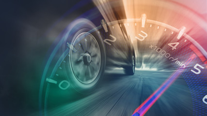 Fototapeta Tires is spin of speeding car obraz