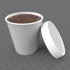 Open chocolate ice cream container