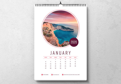 2020 Wall Calendar Layout with Colorful Accents
