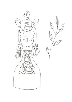 Illustration of a black ink drawing of an animal alpaca among flowers and plants on an isolated white background.