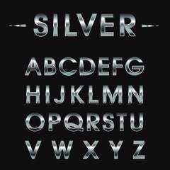 Alphabetic silver font. Vector illustration